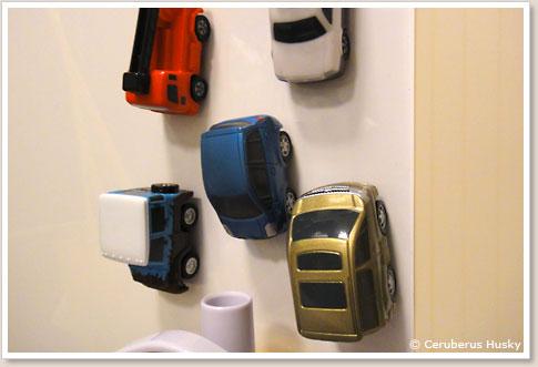お風呂でトミカシリーズの車両